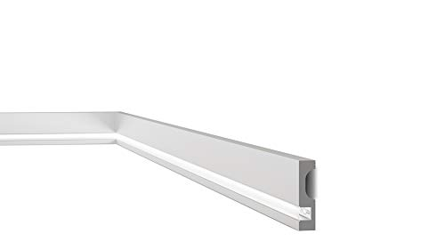 Rodapié/Zócalo decorativo suelo Luz Led NMC WALLSTYL® IL11 80X20X2000mm Poliestireno Resistente al agua y golpes 26 metros