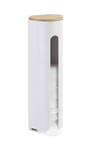 WENKO Porta discos desmaquillantes Laresa - Dispensador de almohadillas de algodón, Poliestireno, 8 x 25 x 6.5 cm, Blanco