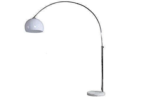 Invicta Interior Dimmbare Bogenleuchte Lounge Deal weiß Marmorfuß ausziehbar 185-205cm mit Dimmfunktion Marmor Fuß Stehlampe Bogenleuchte ausziehbar E27 Wohnzimmerlampe auch für LED
