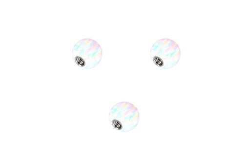 PIERCINGLINE Universelle Schraubkugel mit Innengewinde| SYNTHETISCHER Opal | 3ER Set |Piercing Aufsätze Kugel Ersatz | Farb & Größenauswahl