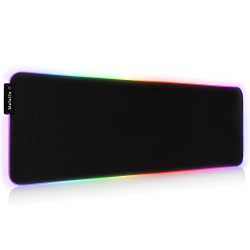RGB Gaming Mouse Pad,Large Extended LED Desk Pad with 12 Lighting Modes,Waterproof Anti Slip XXL Computer Keyboard Mat for Gamer,Black,31.5x11.8 inch,800x300mm