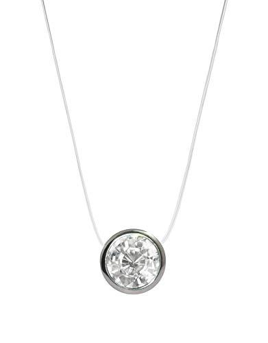 Nylonkette Kette Transparent Halskette mit schwebendem Strass 8mm Stein Zirkonia 925 Sterling Silber Anhänger und Verschluss, Länge: 38/42/45cm für Damen und Mädchen (38)