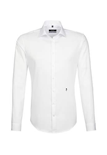 Seidensticker Herren Business Hemd X-Slim Fit – Bügelfreies, sehr schmales Hemd mit Kent-Kragen – Langarm – 100% Baumwolle mit Stretch-Anteil, Weiß (Weiß 1), 38