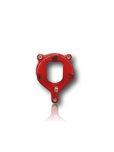 Trensenhalter für Pferde, Reitstall, Sattelkammer   mit Zusatzhaken   zum Aufhängen von Trensen Halfter Kandare   Metall in rot & schwarz   (Rot)