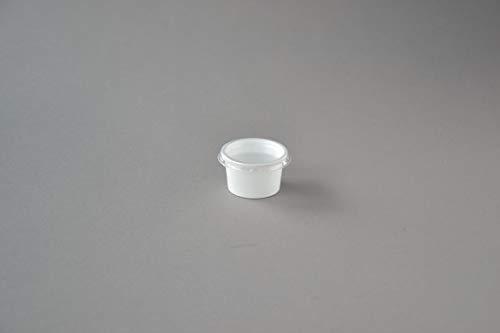 500 Stück Dressingbecher mit Deckel, 30 ml weiß rund Buttercups Dipbecher Soßenbecher Portionsbecher