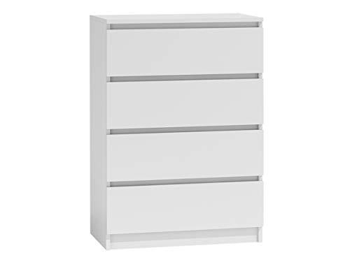 Kommode mit 4 Schubladen Malwa M4, Diele, Flur, Anrichte, Highboard, Sideboard, Mehrzweckschrank, Wohnzimmer, Esszimmer (Weiß)