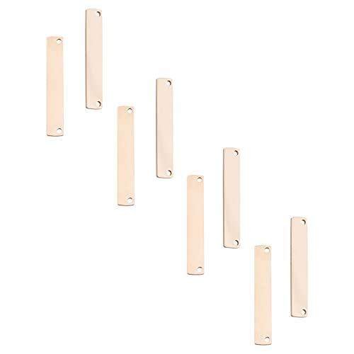 UNICRAFTALE 10 Uds 35mm Rectángulo de Oro Rosa Encantos Hipoalergénicos Colgantes de Acero Inoxidable Etiqueta En Blanco Encantos de Mooth
