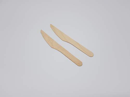 JSM Einwegbesteck aus Holz - 100 Messer aus glattem Birkenholz Biologisch abbaubar und umweltfreundlich