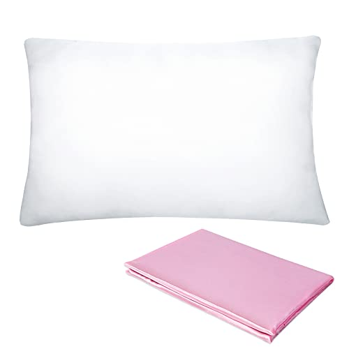 Pro Goleem Toddler Pillow with Satin Pillowcase 13x18 Inch Soft Baby Pillow for Sleeping Infant Child Kid Perfect for Crib, Travel, Toddler Cot, Bed, Best for Summer, Pink
