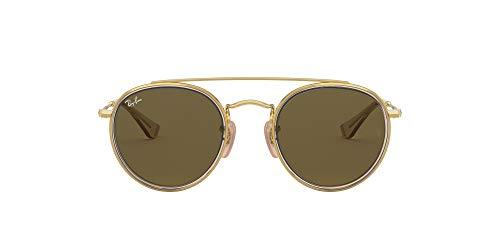 Ray-Ban Junior Kids' RJ9647S Metal Round Sunglasses, Gold/Brown/Dark Brown, 46 mm