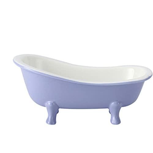 Kreative Badewanne Keramische Dessertplatte, niedliche unregelmäßige Hafermehljoghurtschüssel, Haustier-Snackschüssel purple-#1