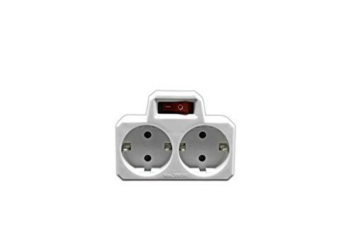 Doppelsteckdose mit Schalter (weiß)