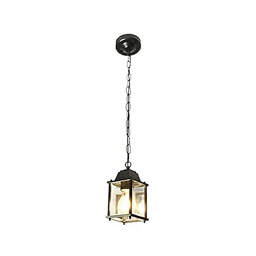 JIANAND Iluminación Exterior Cuadrada Mini candelabro suspendido Linterna de Vidrio Impermeable Lámpara Colgante de Techo E27 Lámpara Colgante a Prueba de Lluvia Juego a Prueba de Herrumbre Luminaria