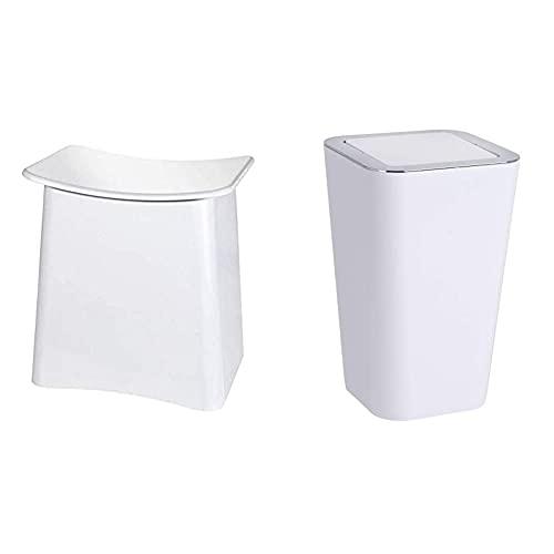 WENKO 2in1 Hocker Wing Weiß - Wäschesammler, Badhocker mit herausnehmbarem Wäschesack 45 x 48 x 33 cm & Schwingdeckeleimer Candy White - Abfallbehälter: 6 l, Polystyrol, 18 x 28.5 x 18 cm, Weiß