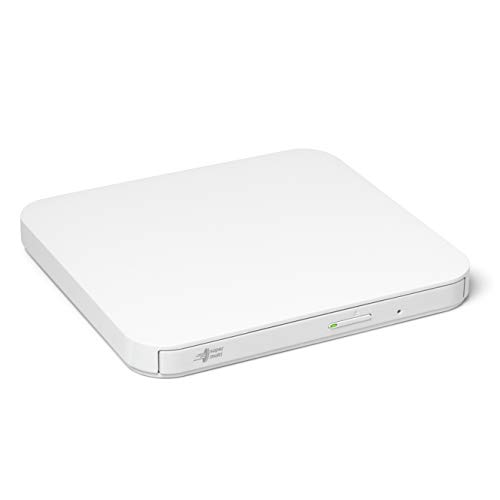 Hitachi-LG GP90NW70 Externer Portabler DVD-Brenner mit stilvollem Design, USB 2.0, DVD+/-R, CD-R, DVD-RAM Kompatibel, TV-Anschluss, Windows 10 & Mac OS Kompatibel, Weiß