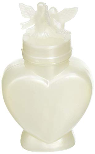 Darice Pearlized Heart Shaped Wedding Bubbles with 2 Doves, 24-Pack
