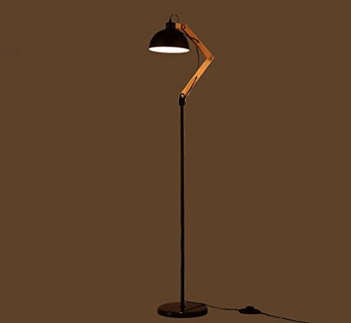 MENA HOME- Style rétro industrielle pliante simple Salon Étude Chambre Personalized Creative Wood Floor Lamp