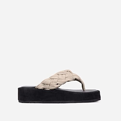 Tallas Grandes 2021 Verano Europeo Y Americano Casual Tejido Playa De Espiga De Mujer Zapatillas De Suela Gruesa Sandalias Beige