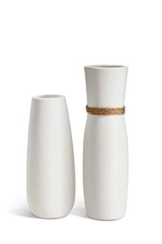Jarrones de cerámica de color blanco OPPS con diferentes diseños únicos de cuerda para decoración del hogar, juego de 2