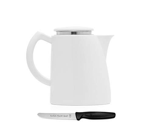 Sowden Oskar Kaffeekanne 1,3 l Porzellan weiß, plus ultrascharfes, langlebiges Kochen Macht Spaß Vespermesser im Set