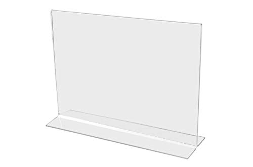 """FixtureDisplays 12PK 7 x 5"""" Clear Acrylic Sign Holder for Tabletops, Horizontal Table Tent Frame Photo Sign Menu, Bottom Insert 11193-2-7X5-12PK Peel Off Protective Film (White) Before use."""