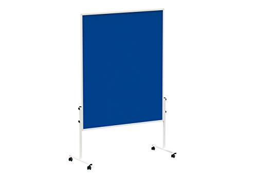 MAUL Moderationstafel Filz Solid 150 x 120cm, Beidseitig pinnbar, Mobile Mehrzwecktafel, Mit Stellfüßen, Inklusive 4 Rollen, Blau, 6365482, 1 Stück