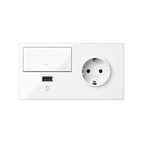 Kit front para 2 elementos con 1 base de enchufe Schuko, 1 tecla y 1 cargador USB derecha, serie 100, 4 x 15 x 8 centímetros, color blanco mate (referencia: 10020206-230)