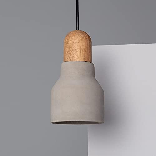 LEDKIA LIGHTING Lámpara Colgante Luster 210x120x120 mm Gris Piedra E27 Casquillo Gordo Hormigón - Madera Decoración Salón, Habitación, Dormitorio