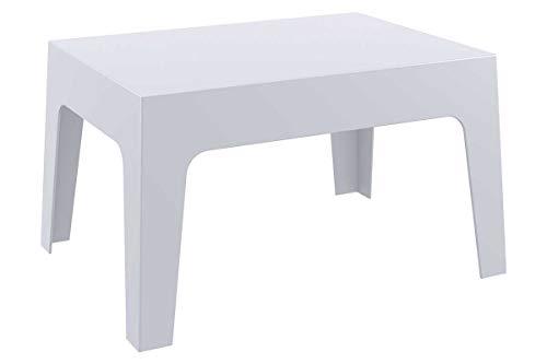 CLP Tavolo Giardino Design Box I Tavolo Lounge Impilabile in Polipropilene Idrofugo E Resistente Ai Raggi UV 70x50 CM, Colore:Grigio Chiaro