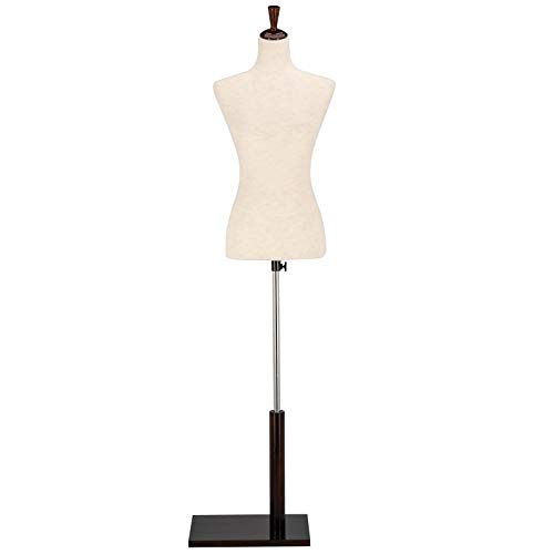 VINGLI Female Dress Form, Mannequin Torso Body with Adjustable Wood Stand for Dress Display Clothes Design, Pinnable Manikin (White, 2-4)