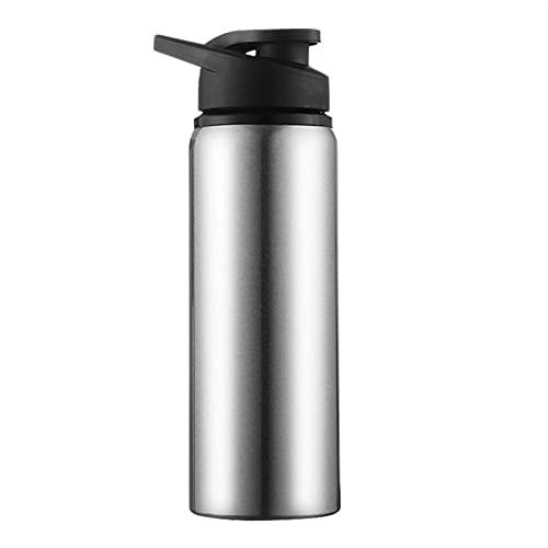 wjmss Botella Deportiva de Acero Inoxidable de 700 ml, Botella portátil Botella de Bebida Botella de Viaje al Aire Libre Tapa de presión Recta Hervidor para Correr, Gimnasio, Ciclismo,Plata