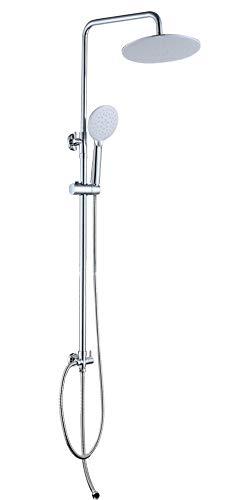 JOHO Colonna Doccia senza Miscelatore Saliscendi Doccia Regolabile con Soffione Set Doccia Completo Sistema Doccia a Pioggia (D23cm tondo)