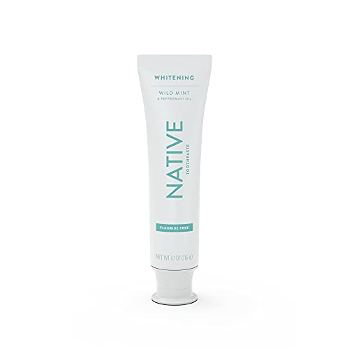 Native Toothpaste Whitening Wild Mint & Peppermint Oil - Fluoride Free Toothpaste, Made Without Triclosan - 4.1 oz