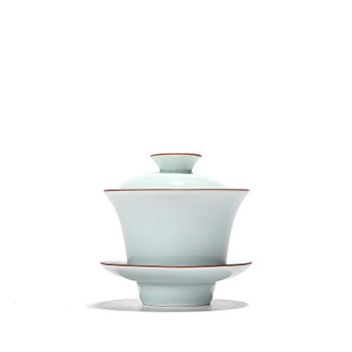 160ml Celadon Gaiwan, tazón de té de Porcelana Blanco Mate a Mano, Juego de té de Kung Fu Treeen