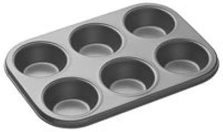 Generic Aluminium 6-Slot Nonstick Muffin Tray/ Cupcake Pan (Black, 8944714646487AMT6)