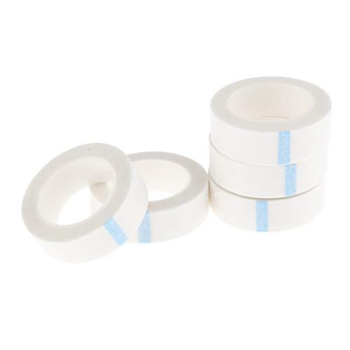 IPOTCH 5 Rouleaux Ruban Cils Adhésif Bande Adhesive Cils Professionnel Micropore Respirant Tissus Non Tissés Pour Rallonges de Cils Semi Permanent Blanc