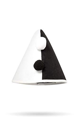 Frauen Schwarz weißer Damen Harlekinhut Trachtenhut mit Bommeln und Gummiband Fasching Verkleidung