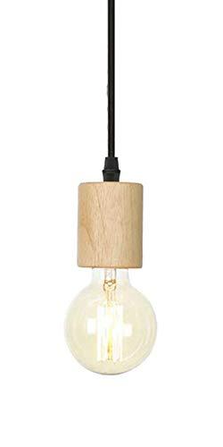 Retro/Vintage Hölzerne E27 Deckenhalterung Pendelleuchten Lampenfassung Adapter mit 100cm schwarzen Draht Kabel für DIY Kronleuchter