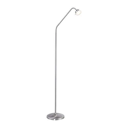 Staande lamp LED dimbaar modern woonkamer vloerlamp met dimmer (leeslamp, roestvrij staal, 4 Watt, warm wit, hoogte 160 cm)