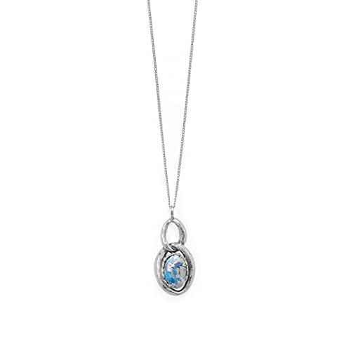 Collar de plata de ley 925 oxidada doble eslabón ovalado antiguo de cristal romano 45,7 cm cierre de mosquetón, joyería regalos para mujeres