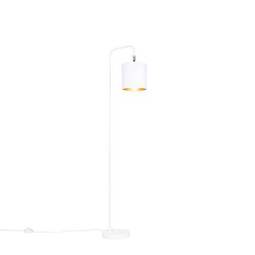 QAZQA Moderne vloerlamp wit - Lofty Staal/Stof Rond/Langwerpig/Cilinder Geschikt voor LED Max. 1 x 60 Watt