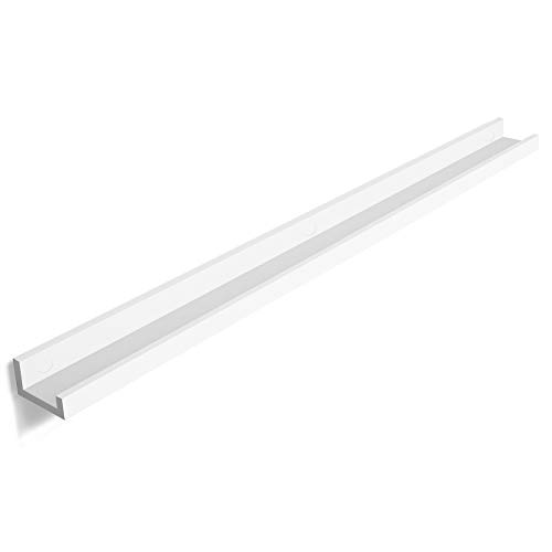 SONGMICS Wall Shelf 43.3 Inches, Floating Shelf Picture Ledge, for picture frames and books, Modern Design Storage White ULWS46WT