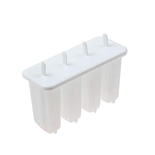 Coner 4 cellen Ijslollyvorm Plastic Bevroren ijsvorm Ijslollyvorm Lollyvorm Lade Pan Maker Tool Kookgereedschap, wit