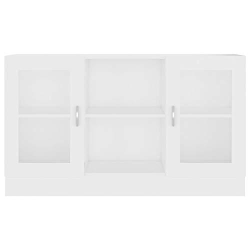 Kshzmoto Mueble de Vidrio Aparador Vitrina Mueble con Puerta de Vidrio Mueble, 120x30.5x70 cm, Blanco