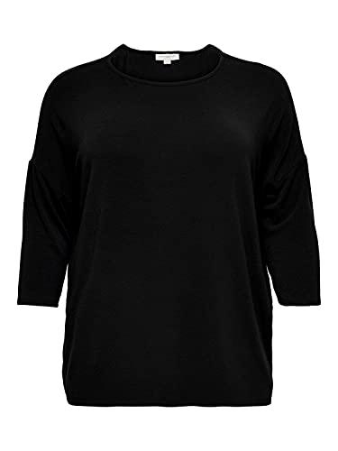 Carmakoma by Only Damen Langarmshirt CARLAMOUR 3/4 - Plus Size 42/44 46/48 50/52 54 Schwarz Blau 65% Polyester, Größe:50/52 L, Farbe:Black 15229806