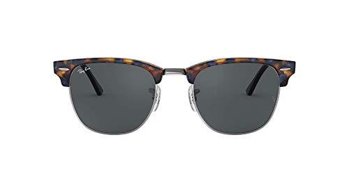 Ray-Ban Unisex Clubmaster Sonnenbrille, Mehrfarbig (Gestell: blau/schwarz(Havana,Tortoise) Glas: grau 1158R5), Small (Herstellergröße: 49)