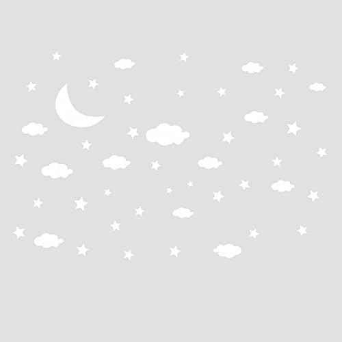 HUIJK Dormitorio decorativo Tallado Luna Nube Autoadhesivo Pegatinas de Pared de los Niños Dormitorio Porche Comercial Pared Paisajismo Decorativo Papel pintado (Color: Qz0226)