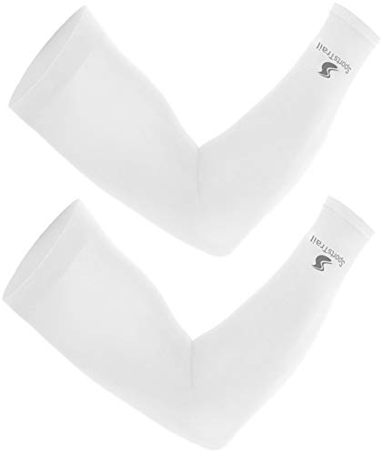 SportsTrail Cooling Arm Sleeves for Men & Women, Tatoo Cover up, 1 Pair (White)