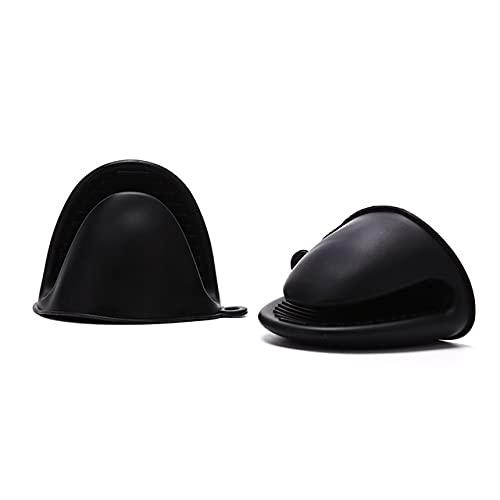 2 udsGuantes de Silicona para Horno Guantes de Dedo con Aislamiento térmico para cocinar microondas Pinza Antideslizante Soporte para Olla Herramienta para Hornear de Cocina-BK