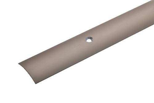 acerto 32002 Übergangsprofil Aluminium, 100cm, 1,5mm bronze hell * Rutschhemmend * Kratzfest | Übergangsleiste für Teppich-Boden, Laminat & Parkett | Alu-Übergangsschiene, Bodenprofil zum Schrauben